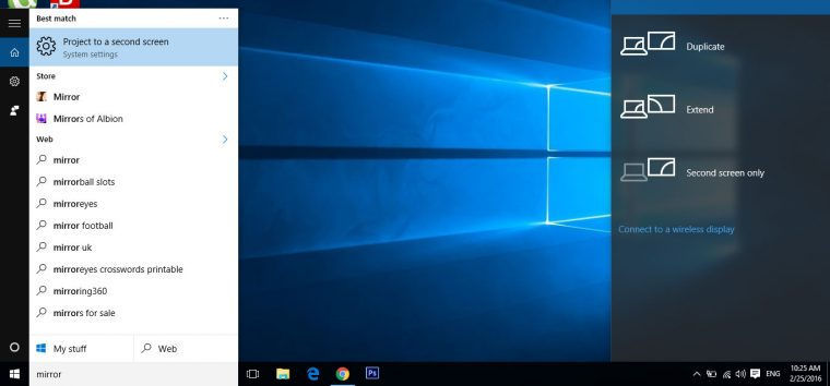 windows 10 mirror image to TV
