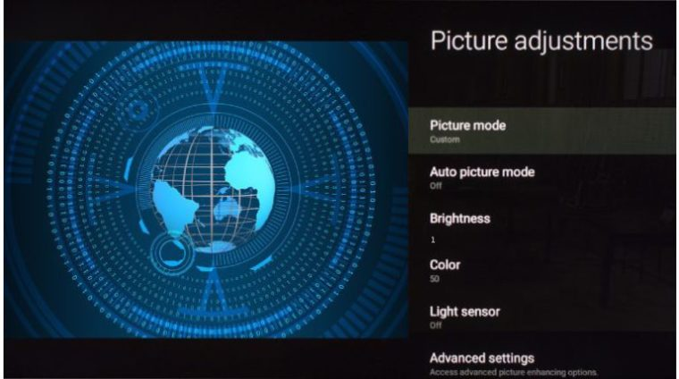 Sony picture menu