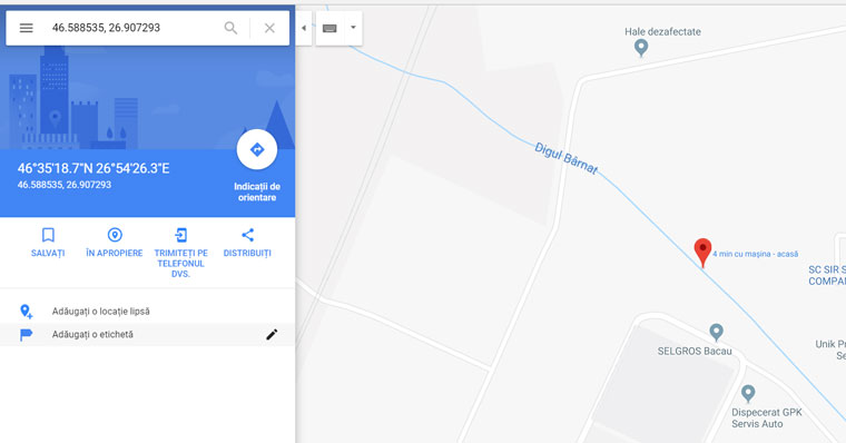 google maps coordinates truck mode