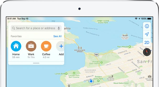 ipad with a map app open