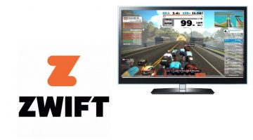 Zwift logo and TV with app open