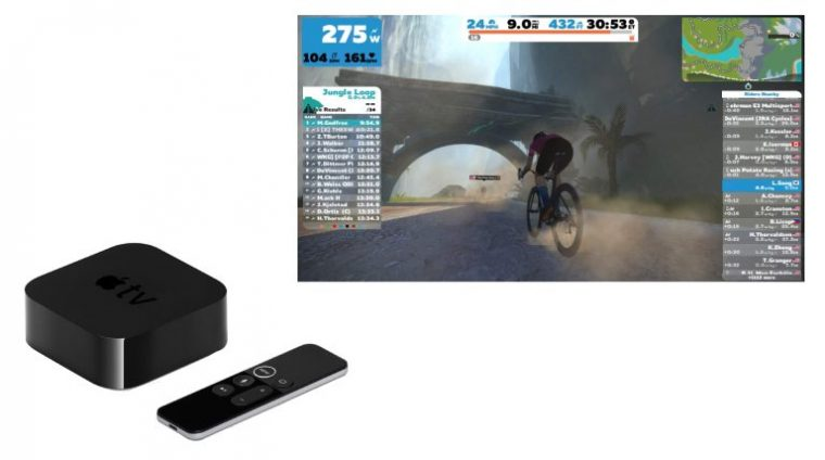 Apple TV + smart tv with zwift app open