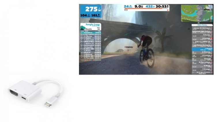 TV with zwift and a lightning hdmi cable